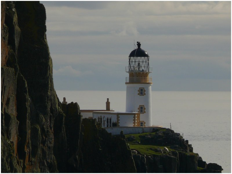 Lighthouse Neist Point Waterstein am Little Minch, der Wasserstrasse zwischen der Isle of Skye und den Outer Hebrides. (06.08.2008)